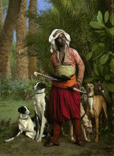 Jean-Léon Gérôme - The Master of the Hounds 19th century oriental painting