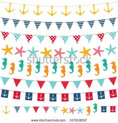 Buy Marine bunting and garland set. Marine bunting and garland set. Used pattern brushes included to the EPS file (as objects and to the brushes palette). Valentines Photo Booth, Christmas Photo Booth, Nautical Fonts, Party Frame, Colorful Birthday Party, Scrapbook Patterns, Bunting Garland, Banner, Sea Theme