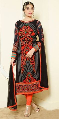 Attractive Black And Orange Georgette Straight Suit.