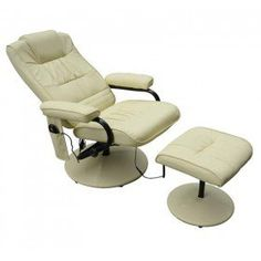 HOMCOM Reclining Massage Chair W/ Footstool-Cream £109.99