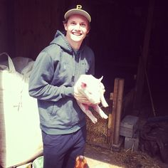 Jacob Trouba and Wilber the pig • Winnipeg Jets • via Instagram