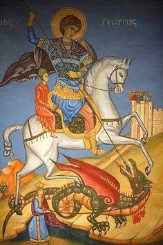 Byzantine Iconography - St George Greek Orthodox icon of St. George slaying a dragon in St. Religious Icons, Religious Art, Saint George And The Dragon, Tarot, Fine Art Prints, Canvas Prints, Orthodox Icons, Poster Size Prints, St George's