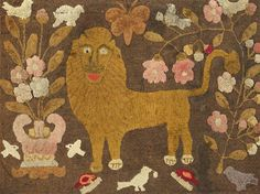 """Lion and Beavers hooked rug is on view in the exhibition """"Fab@50."""" The wool on linen textile is from Waldeboro, Me., and dates to the late 19th century. Courtesy The American Museum in Britain."""