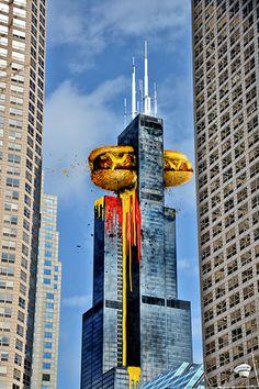 Willis Tower, Sears Tower, Hot Dog crashing through