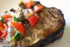 Lemon Grilled Veal Chops with a Fresh Tomato Relish recipe on Food52