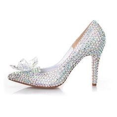 94.11$  Watch here - http://ali7q3.worldwells.pw/go.php?t=32704915413 - 2016 Silver Rhinestone Bridal Wedding Shoes Cinderella Crystal Shoes High Heeled Women Stunning Glasses Slipper Prom Pumps