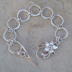Handmade Sterling Silver Chain Bracelet with Sterling Silver