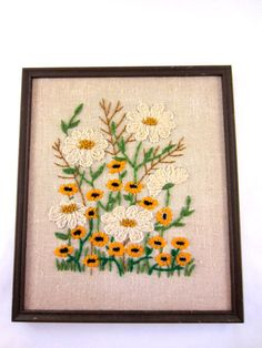 Vintage Crewel Picture Daisies.