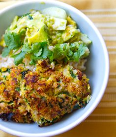 Spinach-Coconut Chickpea Fritters with Rice & Verde Guacamole
