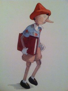 """Pinocchio set off for school with his fine spelling book under his arm."" Illustration by Quentin Gréban."