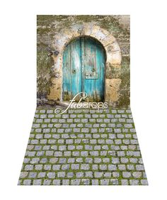 Pixie Door Backdrop // Fairy Backdrop All In One Photography Background // Old Cottage With Blue Pixie Door - Fab Vinyl (FV7503)