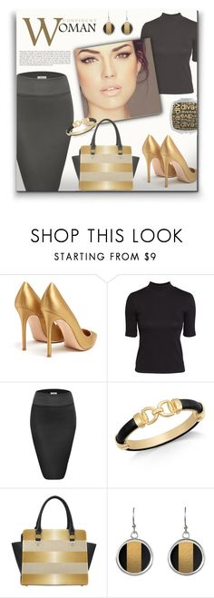 """""""Perfect Black & Gold Autumn Look"""" by colormegirly ❤ liked on Polyvore featuring Gianvito Rossi, H&M, Charter Club, handbags, fashionset and polyvoreset"""
