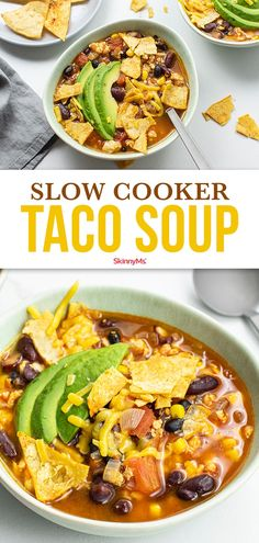 Any taco lovers in the house? This Tex Mex inspired Slow Cooker Taco Soup is one of my favorite comforting recipes to transition me into the colder months. Slow Cooker Tacos, Slow Cooker Soup, Slow Cooker Recipes, Soup Recipes, Dinner Recipes, Cooking Recipes, Healthy Recipes, Healthy Lunches, Skinny Recipes