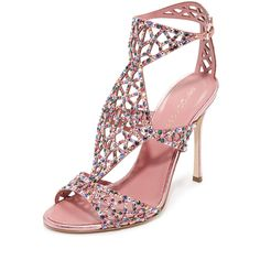 Sergio Rossi Tresor Sandals ($1,450) ❤ liked on Polyvore featuring shoes, sandals, glitter sandals, cut out sandals, leather ankle strap sandals, high heel sandals and high heel stilettos