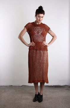 Antique Crochet Dress . Museum Worthy Wearable Art by VeraVague