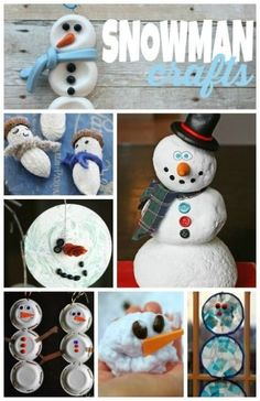 24 adorable Snowman Crafts for kids ~ lots of of simple ideas for winter crafting! Winter Activities For Kids, Winter Crafts For Kids, Winter Kids, Art For Kids, Snow Theme, Winter Theme, Holiday Crafts, Holiday Fun, Holiday Ideas