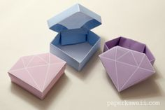 Free Printable - Origami Crystal Box + Tutorial, 9 free printable origami crystal box papers, perfect gift boxes, straight forward to fold - watch the accompanying tutorial video for these origami gem(Diy Ideas Manualidades) Origami Stars, Origami Owl, Origami Paper, Dollar Origami, Origami Folding, Origami Flowers, Paper Folding, Diamond Origami, Paper Diamond