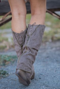 Living On the Wedge Zipper Detailed Wedged Boots (Taupe) - NanaMacs.com - 3