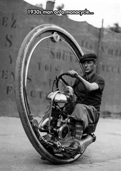 Why Are These Still Not A Thing? - 1930s man on a monocycle