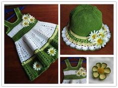 Cute Crochet Dress And Hat Set