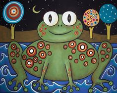 Night Frog Folk Art Karla Gerard Canvas ACEO by KarlaGerardFolkArt