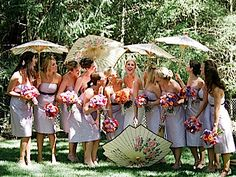 Maybe parasols instead of bouquets?  Bridesmaid's parasols from Lush Floral #weddingidea