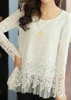 So Pretty! Stylish Layered White Lace Round Neck Long Sleeve Spliced Solid Color…