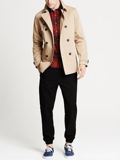 Keeping it simple with a Topman double breasted jacket paired with a check shirt and jogger pants.