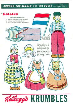 AROUND THE WORLD Cut-Out Dolls HOLLAND Kellogg's Krumbles