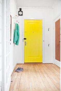Pretty floor + yellow door.