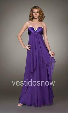 Gasa Strapless Cascada Imperio Vestido Largo de Fiesta VNS067