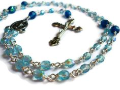 Small Czech Glass Wire Wrapped Rosary in by KattieClareDesigns, $20.00