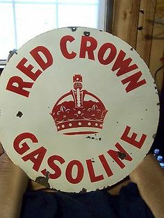 "VINTAGE PORCELAIN RED CROWN GASOLINE DOUBLE SIDED 30"" SIGN"