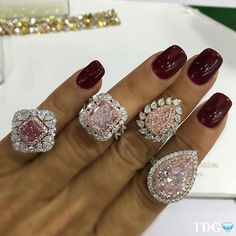 From @LEIBISHANDCO , four exceptional pink diamond rings.... each one a beauty, but oh... that pear on the right!!! Love love love! Follow /leibishandco/ for fancy color diamond delights!