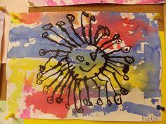 """Malování krepovým papírem - """"Sluníčko"""""""