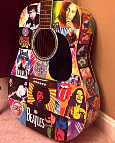 Playable art~ Decoupaged classic rock tie dye acoustic guitar!