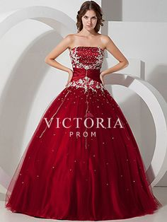 Dark Red Ball Gown Long Beaded Tulle Satin Strapless Corset Prom Dress - US$ 201.99 - Style P0048 - Victoria Prom