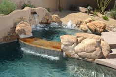 #waterfall stone wall #spa and #NaturalRock spill way http://calpool.com/