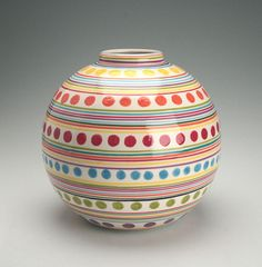 Large Ball Vase Stripes and Dots Hand Painted by owlcreekceramics, $54.00
