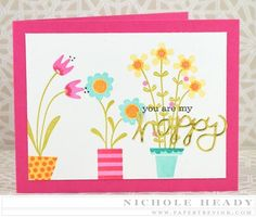 Happy Card by Nichole Heady for Papertrey Ink (February 2015)