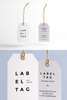 I'm pleased to introduce today a new high-quality PSD mock-up perfect for your future branding projects: a paper label tag with a twine string. Label Design, Packaging Design, Branding Design, Hangtag Design, Design Design, Identity Branding, Custom Design, Corporate Identity, Corporate Design