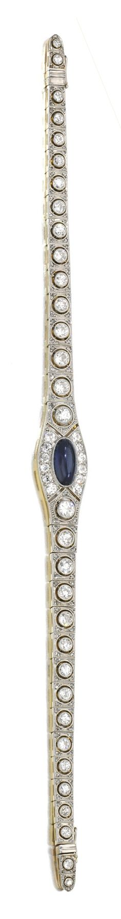 SAPPHIRE AND DIAMOND BRACELET, 1910S Set to the centre with a cabochon sapphire, to a series of links pierced and millegrain-set with circular-cut and rose diamonds, length approximately 180mm, accompanied by additional fittings allowing to be worn as a bandeau, length approximately 290mm.