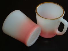 Pair of Fire King Pink & White w/ Gold Trim D Handled Coffee Mugs