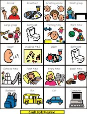 Examples of daily routines: toileting, daily school schedule, home schedule, schedules in Spanish, Therapy symbols, washing hands.