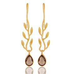 Handmade-Leaf-Design-Dangle-Earrings-18k-Gold-Plated-Brass-Fashion-Gift-Jewelry  #jewelry #fashionjewelry #Jewelrylover #fashionista #gemstonejewelry