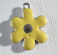 1PC  Flower Charm Silver Toned with Yellow Enamel  by ZARDENIA, $2.00