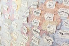 guest table tags on a world map!