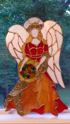 "Quannah's ""Autumn"" Angel - Delphi Stained Glass"