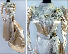 Wedding dress ca. 1890s. Champagne silk in two pieces. Silk satin and chiffon bodice bearing floral embellishments and skirt with train. Susanin's Auctions/LiveAuctioneers