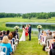 Breathtaking Pond Ceremony Backdrop // Leo Timoshuk Photography // http://www.theknot.com/weddings/album/a-ranch-wedding-in-cooperstown-ny-138931